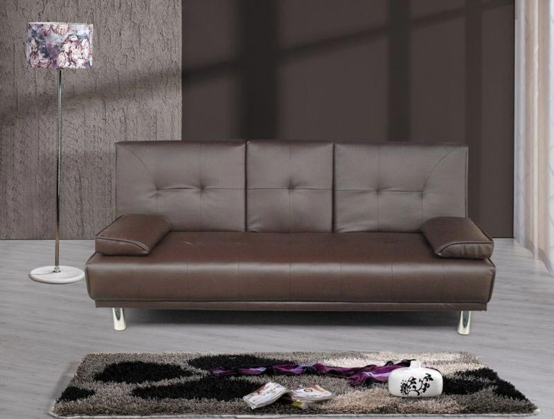 Modern Brown Faux Leather 3 Seater Sofa Bed