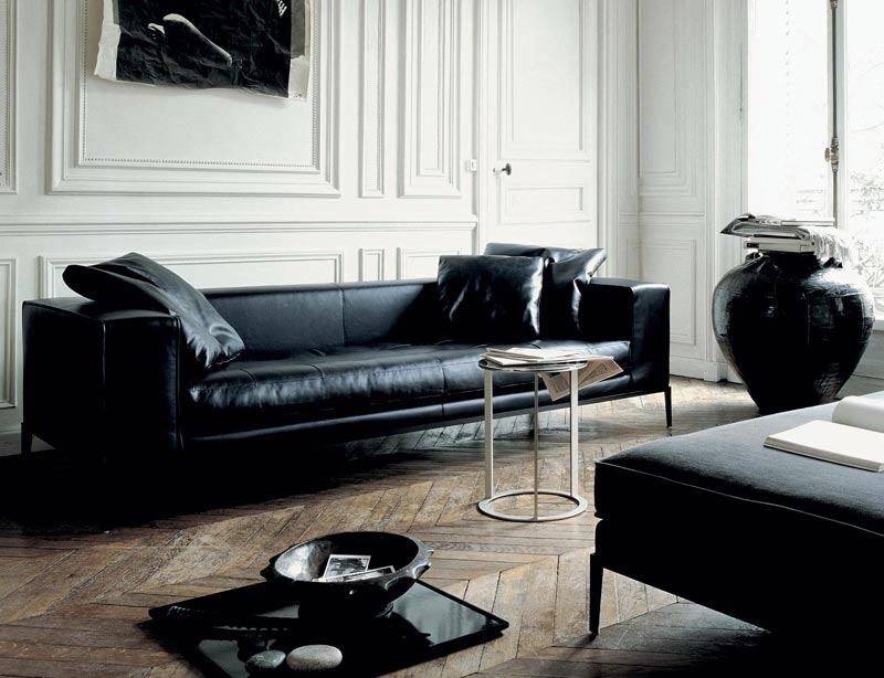Modern black leather furniture couch sofa ideas for Black furniture living room ideas