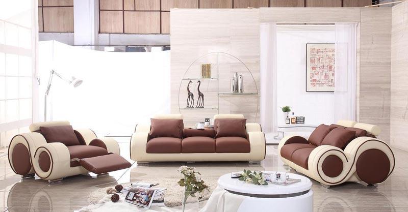 Modern Franco Leather Sofa Set   Brown Beige