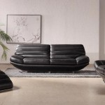 : modern furniture black leather sofa