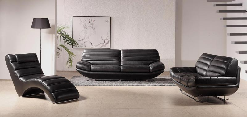 Modern Furniture Black Leather Sofa