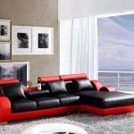 : modern red black leather sofa