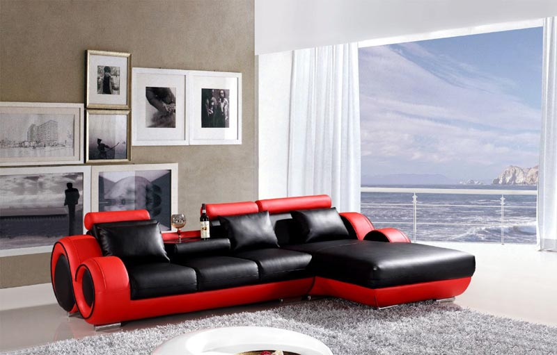 Modern Red Black Leather Sofa