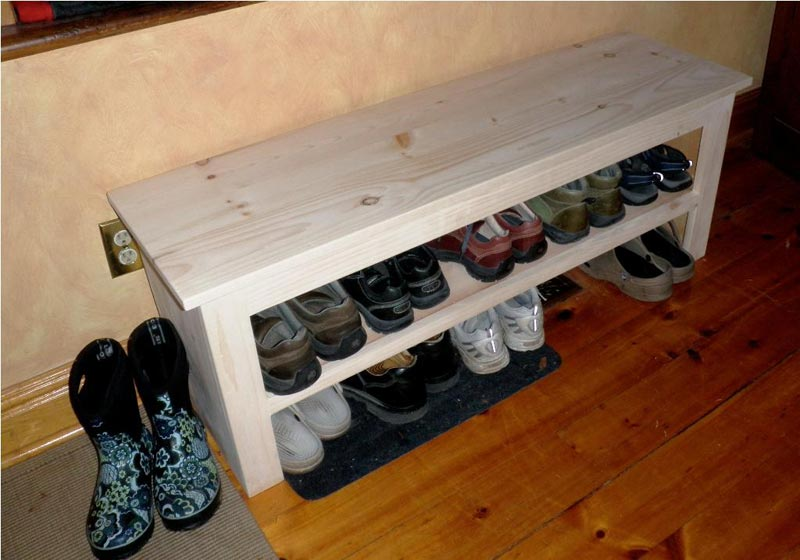 mudroom bench with shoe storage plans