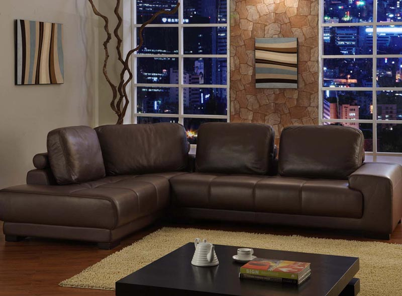 romy bycast brown leather modern sofa
