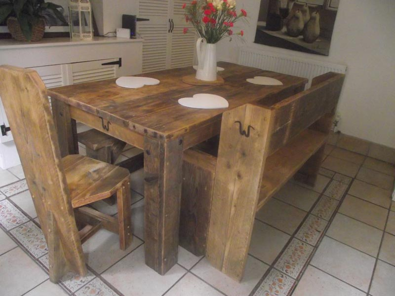 rustic chunky wooden garden furniture
