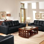 : whitney modern black leather sofa and loveseat set