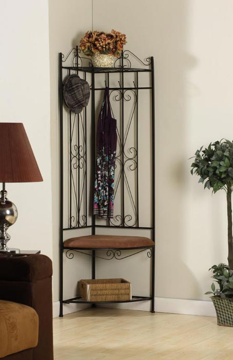 black finish metal hallway storage bench with coat rack umbrella holder