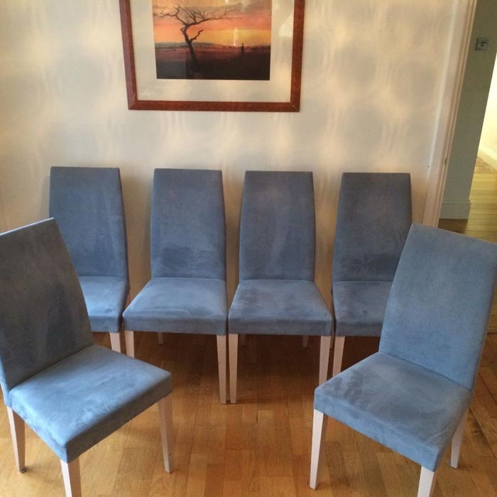 blue suede dining chairs