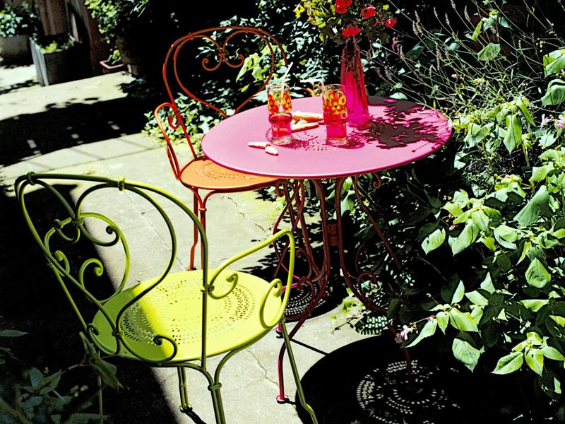 bright coloured garden furniture