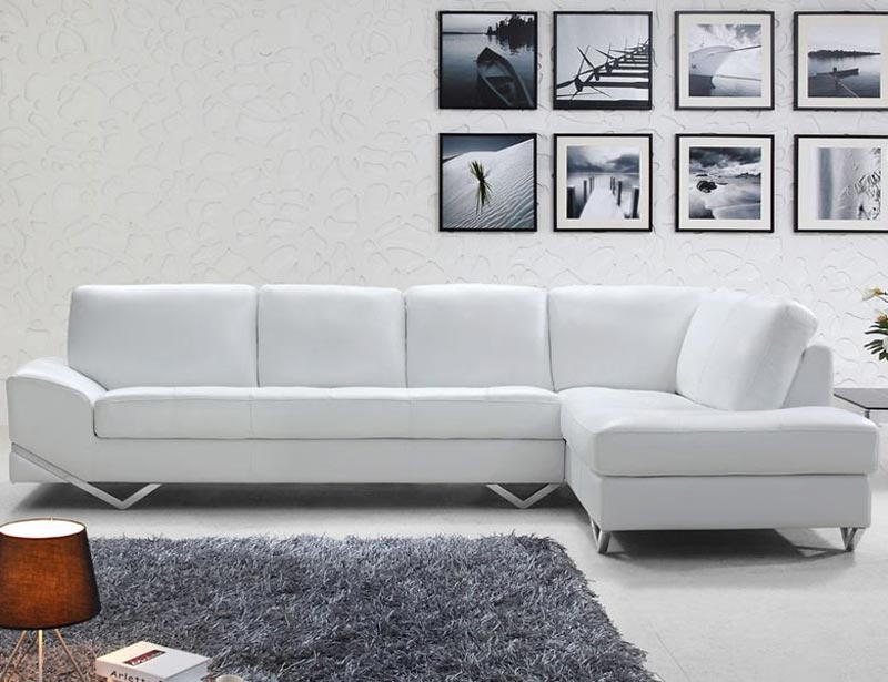 Elgin White Modern Italian Leather Sectional Sofa