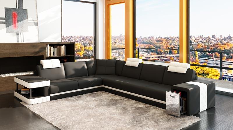 Modern Italian Black White Corner Leather Sofa Suite