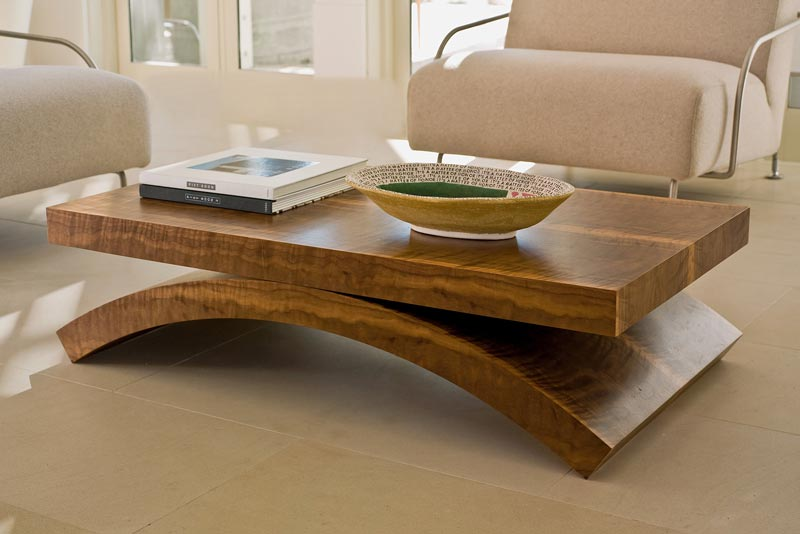 modern solid oak coffee table