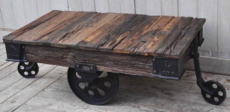 old railway sleeper industrial cart coffee table