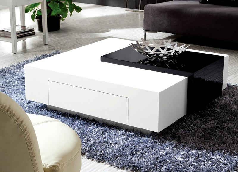 black and white high gloss coffee table