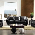 : black italian leather sofa set