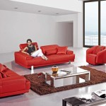 : red italian leather sofa set