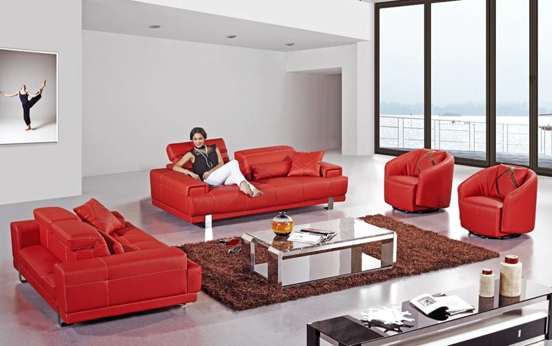 Red Italian Leather Sofa Set Couch
