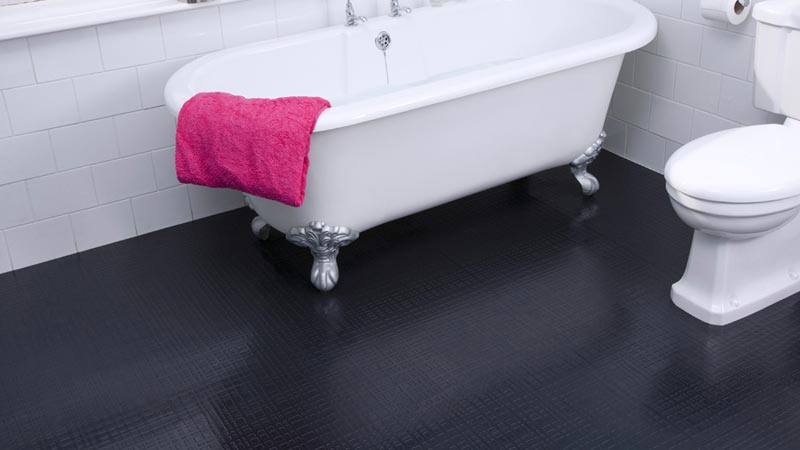 black rubber bathroom flooring