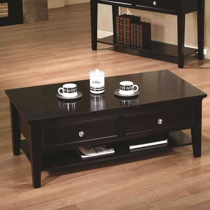 coaster coffee table with storage drawers
