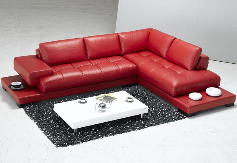 : dark red leather couches