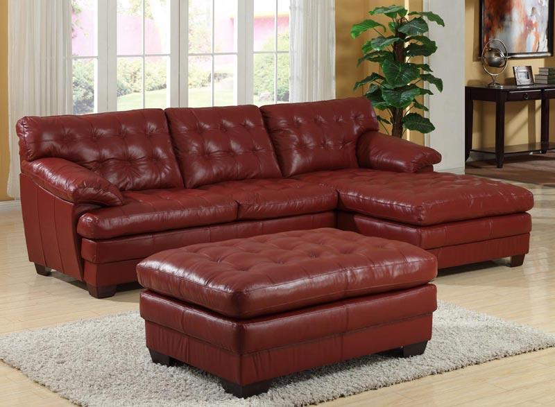 : dark red leather furniture