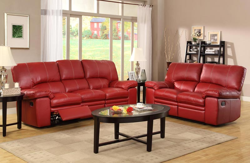 : dark red leather reclining sofa