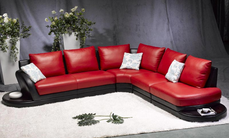 : dark red leather sofa