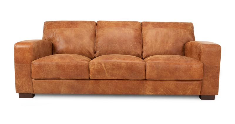 Dfs 3 Seater Brown Leather Sofa