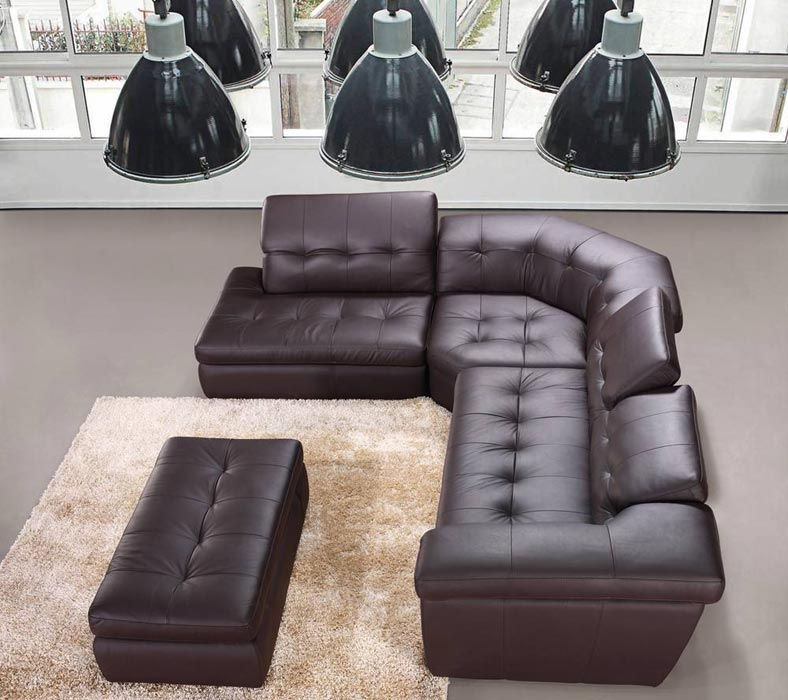 : emerson brown italian leather sectional sofa and ottoman