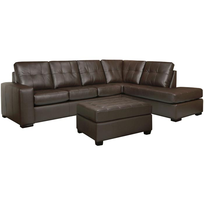 : emmerson brown italian leather sectional sofa and ottoman