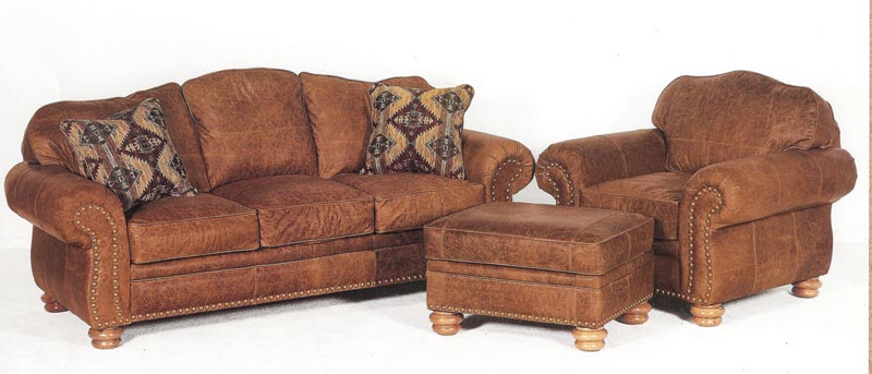 : hancock tufted distressed brown italian leather sofa and loveseat