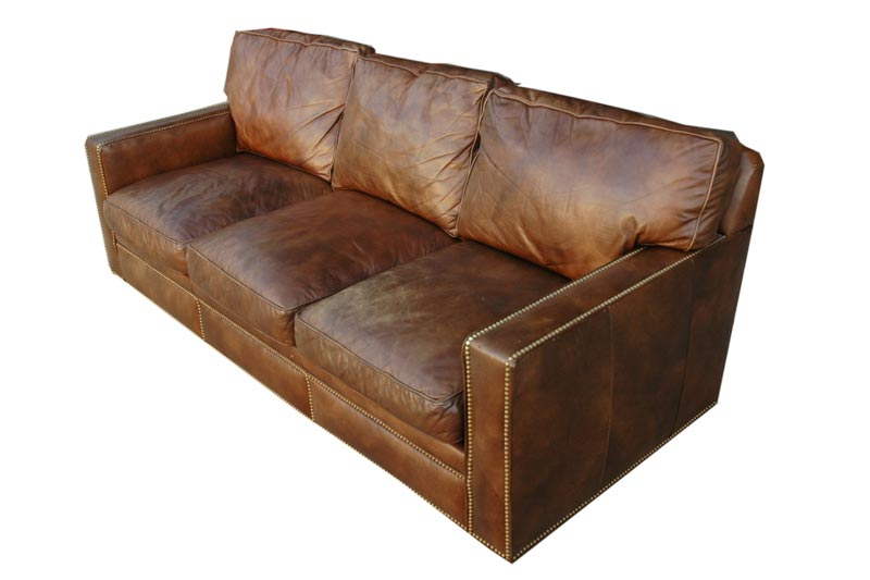 : hancock tufted distressed brown italian leather sofa