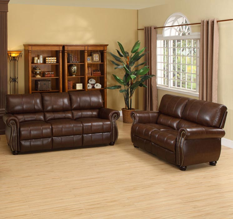 : hudson brown italian leather sofa–loveseat set