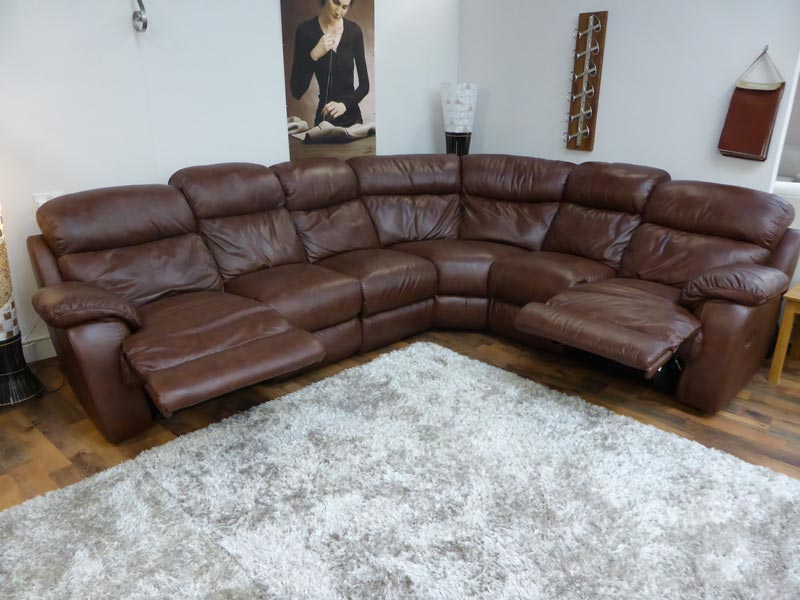 : italian brown leather corner sofa