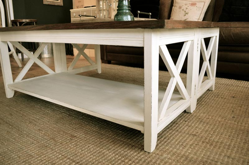 rustic white wood coffee table