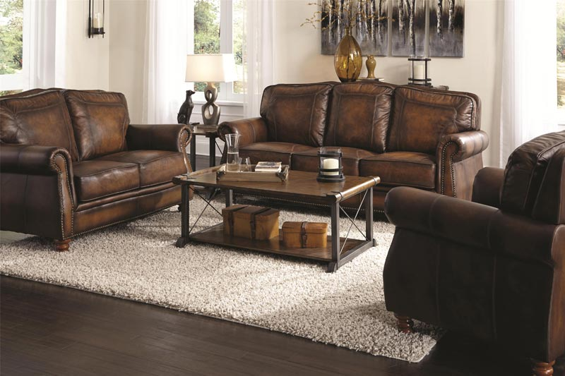 : sedona hand rubbed brown italian leather sofa and chair