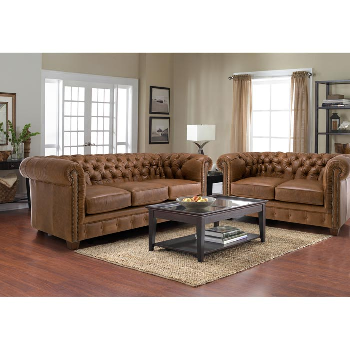 : sedona hand rubbed brown italian leather sofa and loveseat