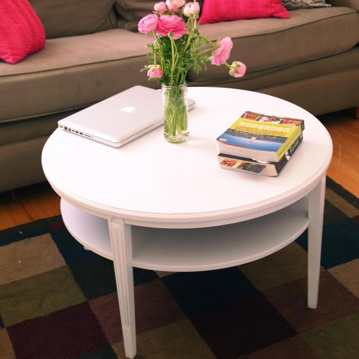 small round white coffee table