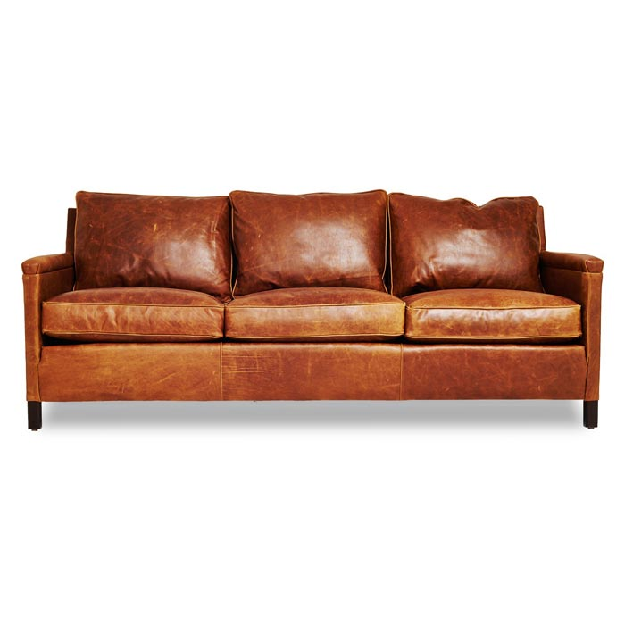 : sterling cognac brown italian leather sofa