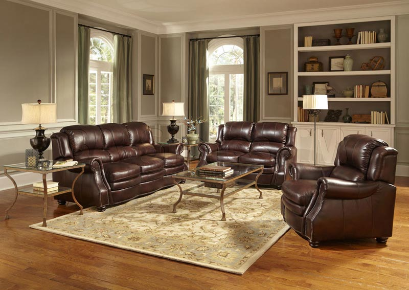 : troy chestnut brown italian leather sectional sofa and ottoman