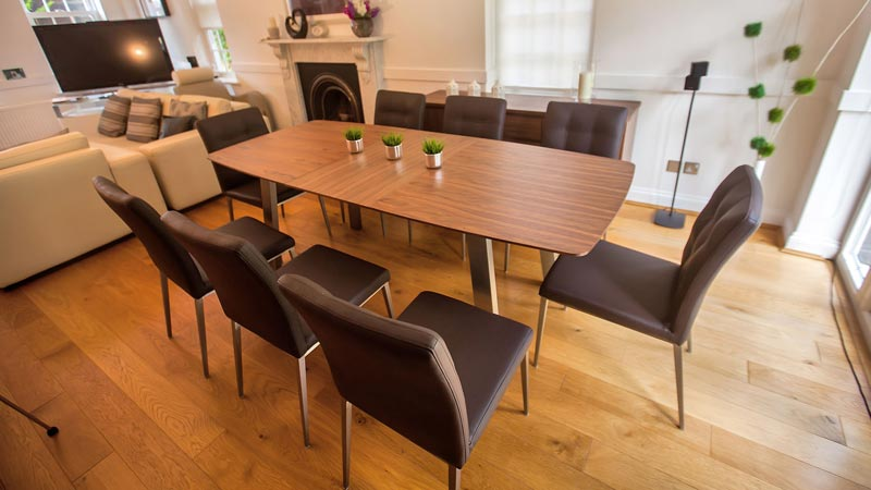 6 brown leather dining room chairs