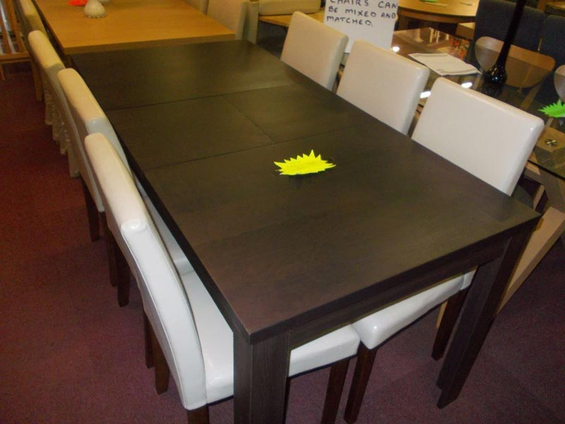 aston black 150cm dining table and 6 cream chairs
