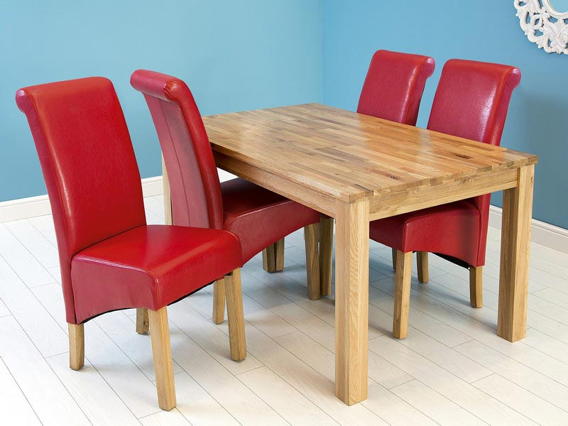 aston black 150cm dining table and 6 red chairs