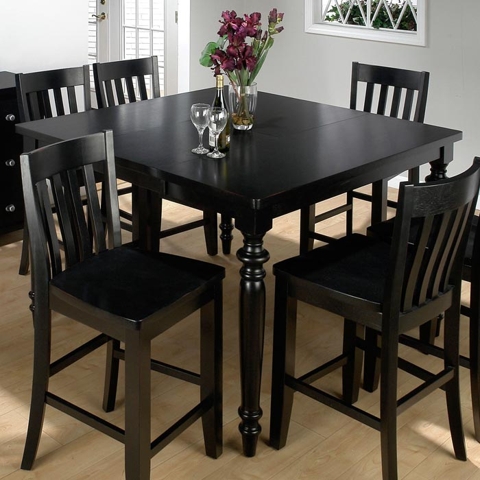 black 6 seater dining table and chairs