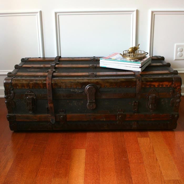 black storage trunk coffee table