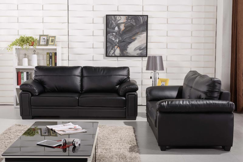 : cheap black leather sofa sets