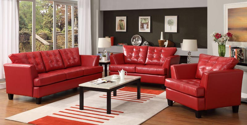 : cheap red leather sofa set