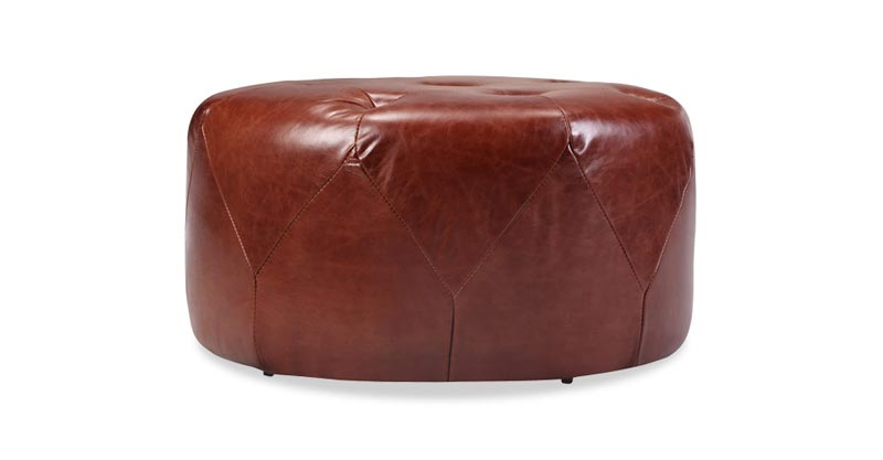 distressed leather ottoman coffee table