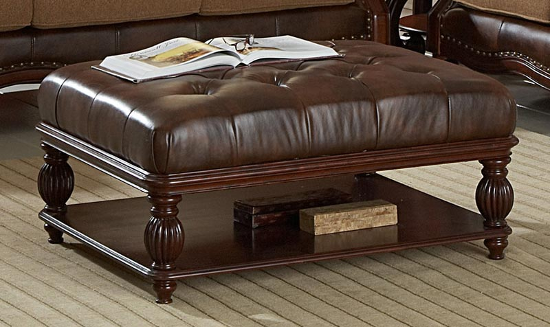 distressed leather ottoman coffee table2